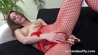 Sexy Red Fishnet Pantyhose On A Pretty Girl Playing With A Dildo