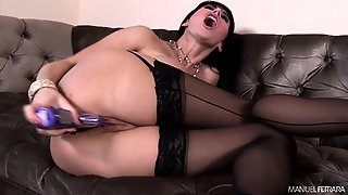 Busty Brunette Milf In Black Stockings Begs For A Rough Anal Pounding
