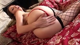 Fingering In Fencenet Stockings And Panties