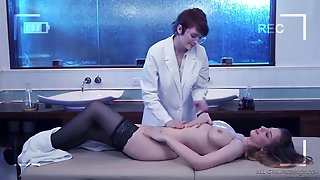 Lesbians With D Cups Fuck On The Massage Table