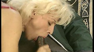 Blonde Maid Blows Black Cock