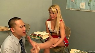 Lustful College Student Makes Her Teacher Worship Her Sexy Feet