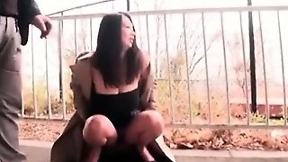 Nasty Jap Babe Takes A Piss Outdoor And Gets Pussy Licked