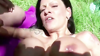 German Monster Tit Milf Outdoor Fuck By Two Young Stranger