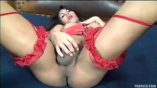 Red Leather Corset On Masturbating Shemale