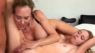 Milf And Her Stepdaughter Share Huge Cock