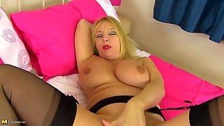 Naughty Fingering Mommy Has A Toy In Her Asshole