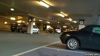 Slutty Blondie Whore Gets Induced On The Parking Side