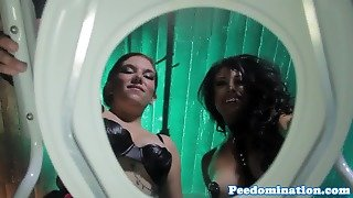 Pissing Leather Femdoms Humiliating Toiletsub