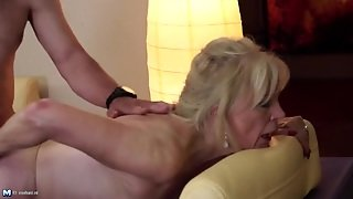 Old Slut Bent Over On The Couch For Young Dick