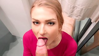 Great Pov Blowjob From A Cute Slut In A Dressing Room