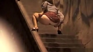 Top, Stairs, Woman, Behind, Pretty, First, Dress, Public, Pissing