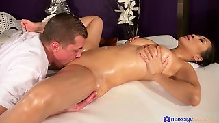 Oiled Up Busty Asian Beauty Receives Many Squirting Orgasms