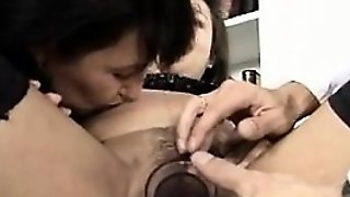 Amateur Slut Threesome In Stockings And Blowjob