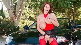 Incredibly Busty Redhead Hottie Playing On The Car