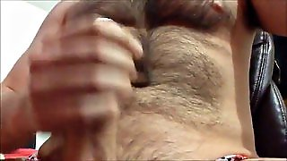 Hairy Naked Gay Slut Holds His Massive Dick In His Hand