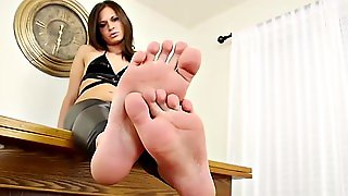 Pedicured Shemale Teasing Solo