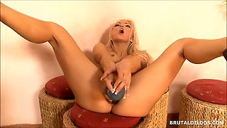 Blonde With A Huge Anal Dildo