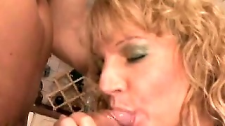 Blonde Euro Tart In A Full Mesh Body Suit Sits On A Big Fat One