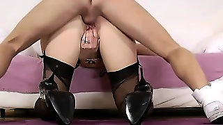 British Stocking Milf Facialized