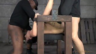 Throat And Cunt Of A Babe In Bondage Gets Laid