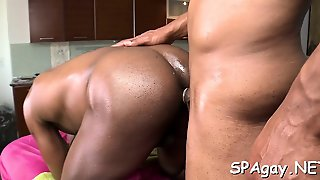 Homo Man Is Sucking Rod Hungrily During Massage