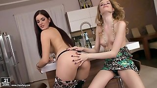 Bathroom Lesbian Scene With Angel Hott And Mira Sunset