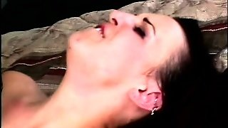 Tiny Brunette Chick Loves To Be Strangled As Her Ass Gets Reamed