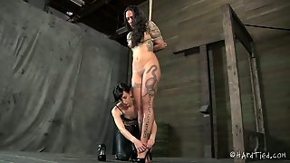 Huge Dark Haired Tattooed Slut Gets Her Face Wrapped With Her Pink Pantyhose