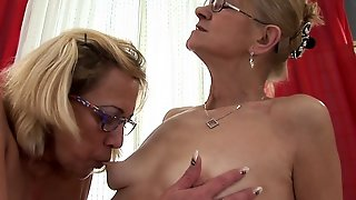 Pussy Licking, Pussy Fingering, Hairy, Fishnets, Lesbian, Blonde, Toys, Granny, Hd