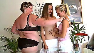 Sexy Teens Have A Lesbian Threesome With Their Bbw Teacher