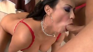 Hot And Spicy Latina Mariah Milano In Red Lingerie And Heels