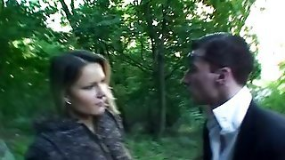 Blonde Babe Does Blowjob In The Forest