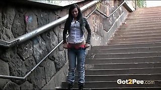 Jeans And Panties Girl Pees On The Public Stairs
