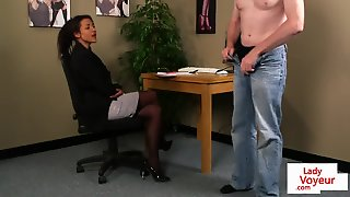 Classy Office Babe Instructing Naked Guy