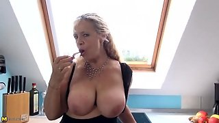 Hot Old In Stockings Plays With A Dildo