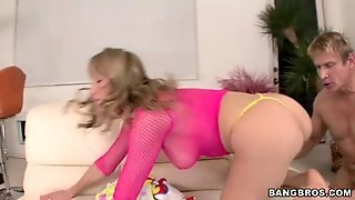 Lovely Girl Maya Hills In Pink Fishnet Top Has Sexy