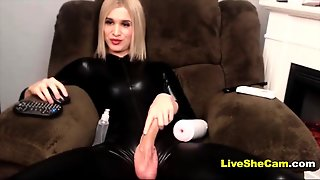 Blonde Tgirl In Latex Solo