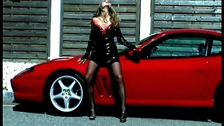 Big Tits, Tube8 Com, Blonde, Natural Tits, Seduction, Leather, Car, Ferrari, Stockings, Slow Mo, Erotic
