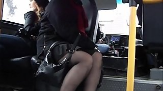 Mature Woman Wearing A Skirt And Attracts A Voyeur