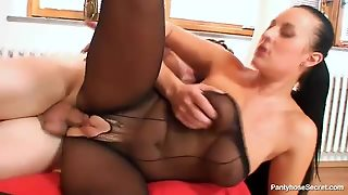 Big Tits Girl In Black Nylons Fucked
