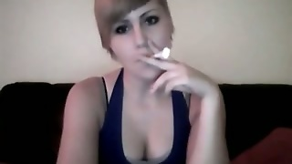 This Punk Bitch Knows How To Smoker Seductively On Camera