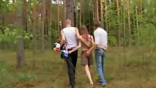 Amateur Spanish Threesome In The Forest