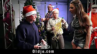 8 Perv Old Men Gangbang Siliconed Santa L
