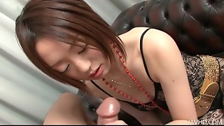 Dressed In Sexy Black Lace And Sucking Cock