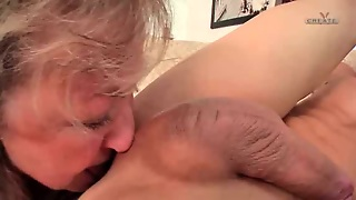 Wife's Horny Blonde Grandma Sucks My Shaved Cock And Gives Rimjob