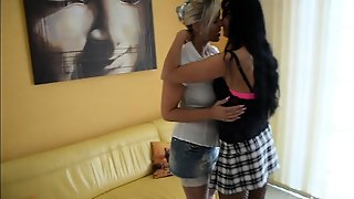 Lesbians With Big Boobs And Stockings Riding A Dick