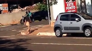 Crazy Lady Walking Naked In Public