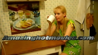 Blonde Woman Fucking In The Kitchen