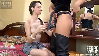 Old And Young Lesbian Femdom Sex With Dildo Toys